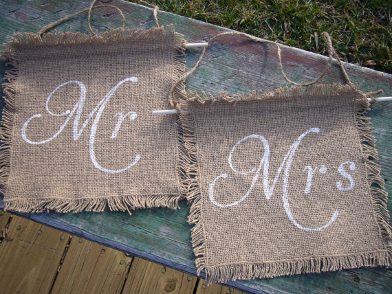 Burlap Mr Mrs chair signs Scooters Crafts