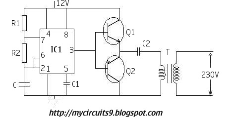 230v simple inverter circuit using 555 timer