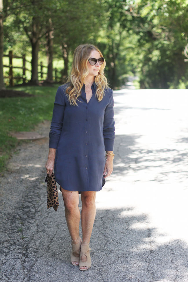 shirt dress, leopard clutch, aquazzura sexy thing heels, cat eye sunglasses