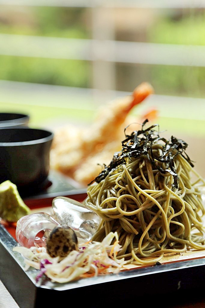 Green Tea Soba Noddles Tempura Kessaku Japanese Restaurant