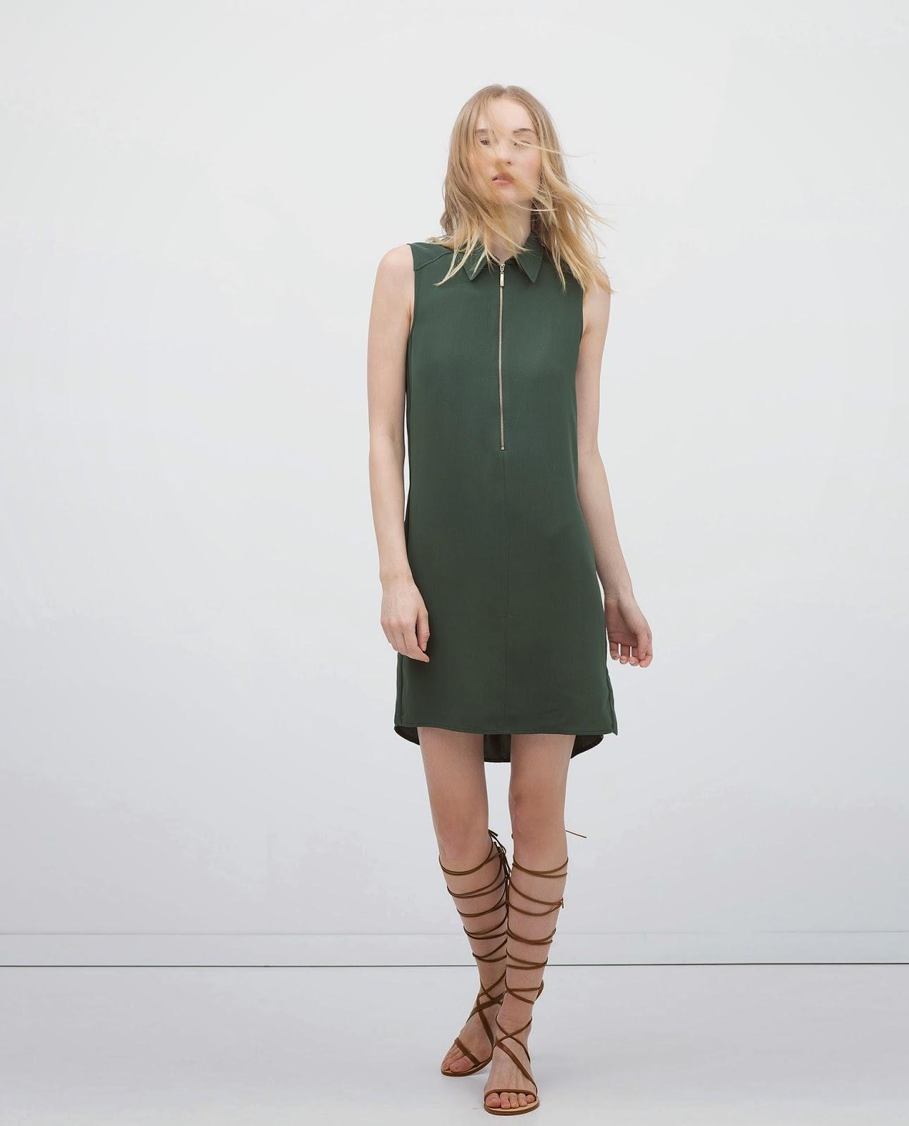 zara green collar dress, zara zip dress,