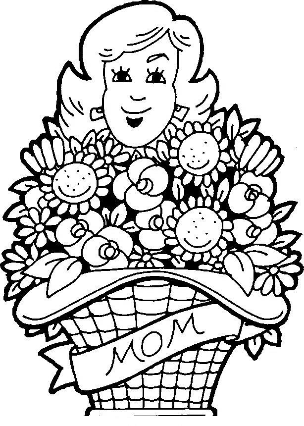 Mamá con flores para colorear - Dibujo Views