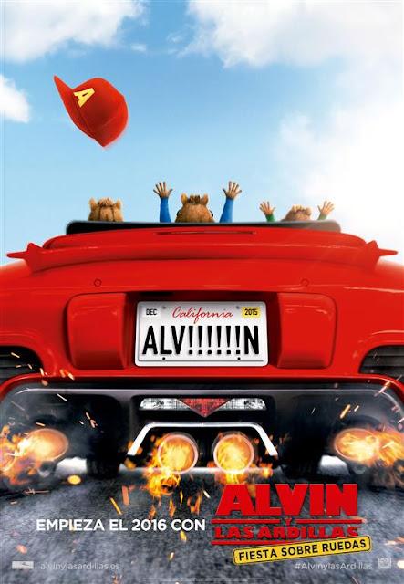 Téser póster y tráiler español de 'Alvin y las ardillas: Fiesta sobre ruedas'