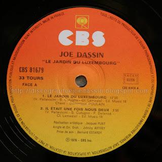 Blue country la discographie de joe dassin 33 rpm cbs 81679 1976 le jardin du luxembourg - Joe dassin le jardin du luxembourg ...