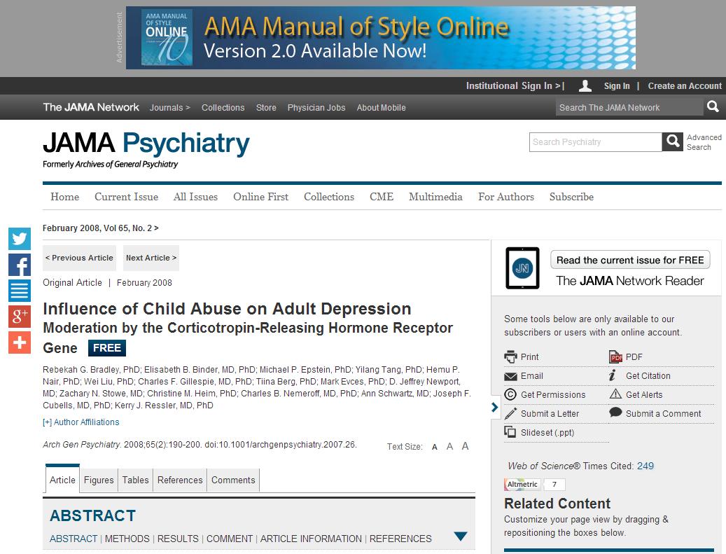 Influencia del maltrato infantil en la depresión de adultos
