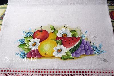 pintura de melancia e frutas