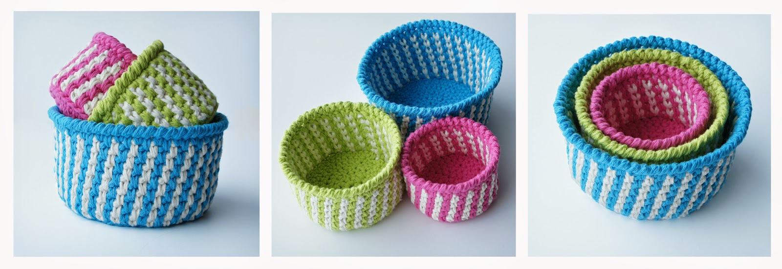 http://www.ravelry.com/patterns/library/striped-baskets