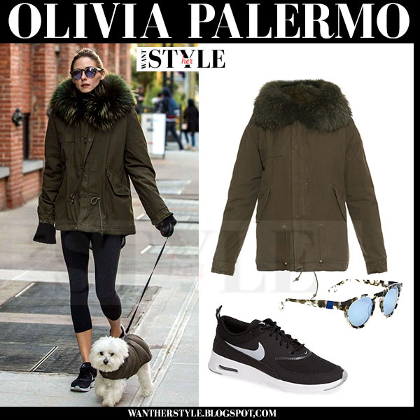 Olivia Palermo in dark green mr and mrs italy canvas fur collar parka and black nike air max thea sneakers what she wore walking her dog streetstyle