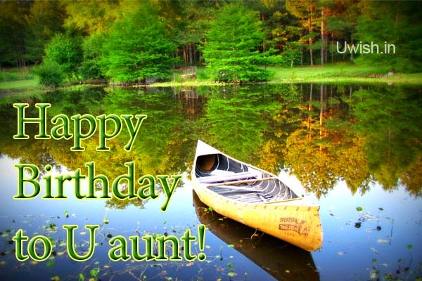Happy Birthday Aunt e greetings and wishes with nature scenery background.