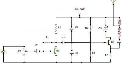 2 Watt Fm Transmitter Circuit Diagram on electret microphone amplifier circuit diagram