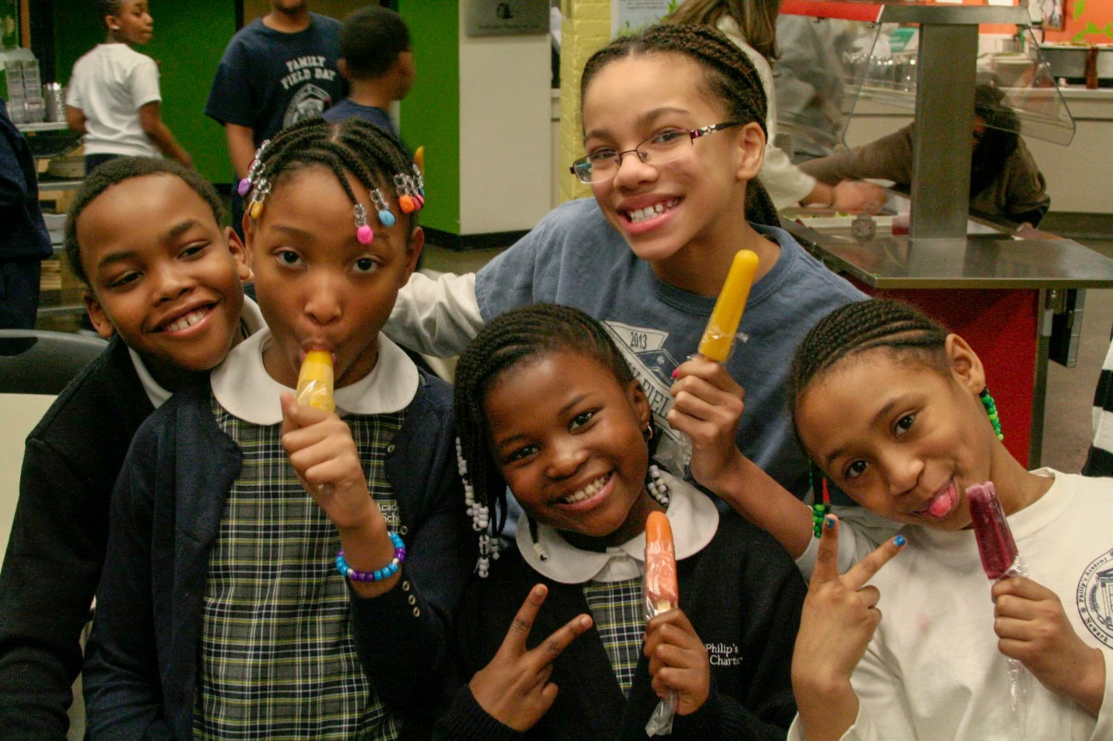Philips Academy Charter School Kids Enjoying Ruby Rockets Frozen Pops After Assemby