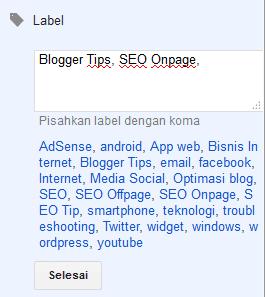 Cara Memasukan label atau tag artikel blog