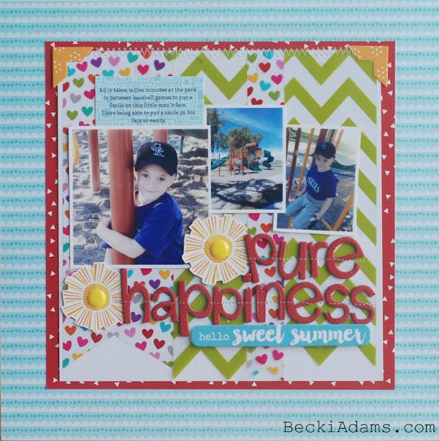 """Pure Happiness"" by @jbckadams for Bella Blvd #scrapbook #papercrafting #Bella Blvd"