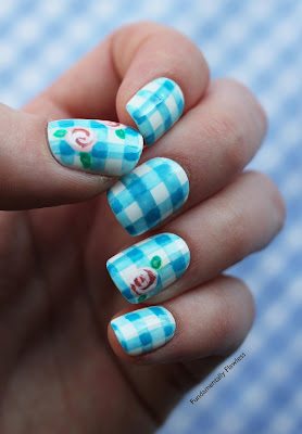 Blue Gingham and Roses Nail Art