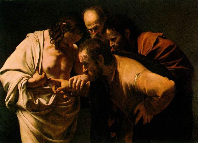 A incredulidade de São Tomé, pintada por Caravaggio.