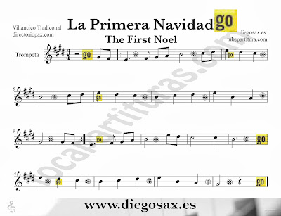 Sheet Music for Trumpet and Flugelhorn The First Noel a traditional Christmas Carol Music Scores Canción de Navidad Partitura y Villancico  Tubescore The First Noel sheet music for Trumpet Christmas Carol traditional music score