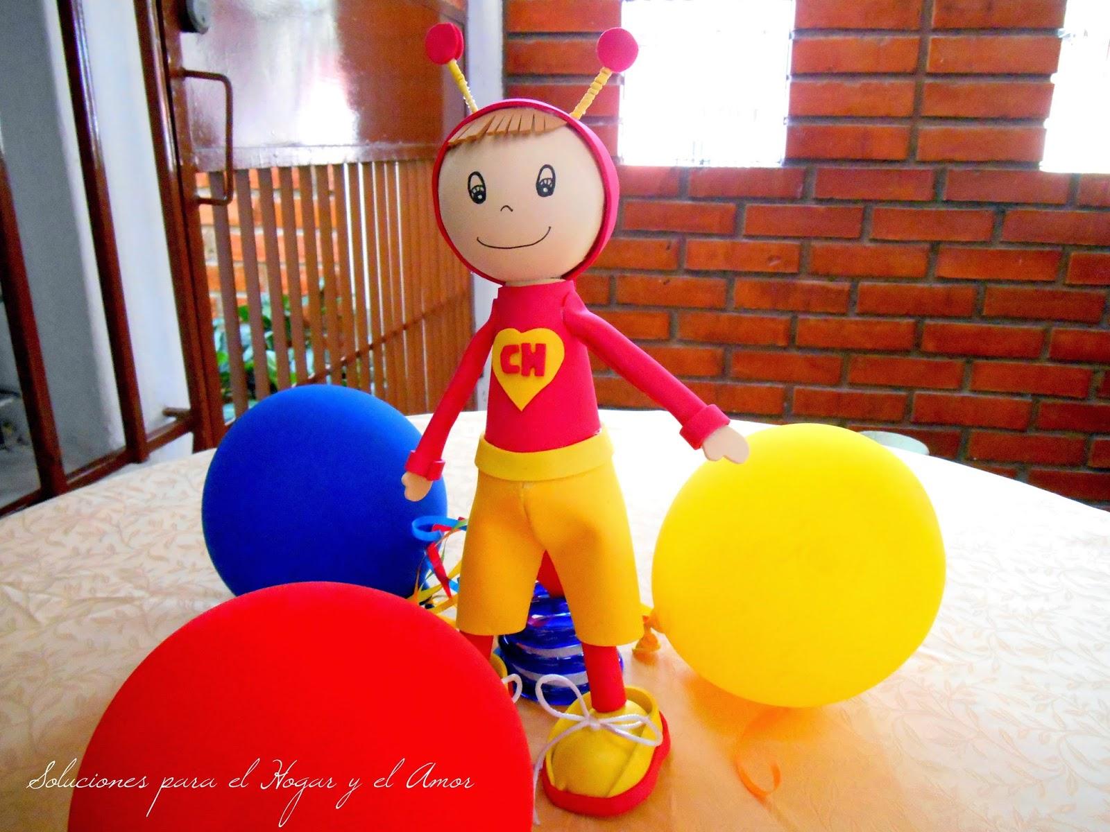 muñeco de foamy, chapulin colorado hecho de foamy, termo formado con foamy