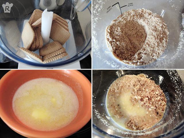 Mezcla las galletas molidas, la almendra crocanti y la mantequilla