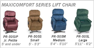 Golden PR-505 Lift Chair Sizing