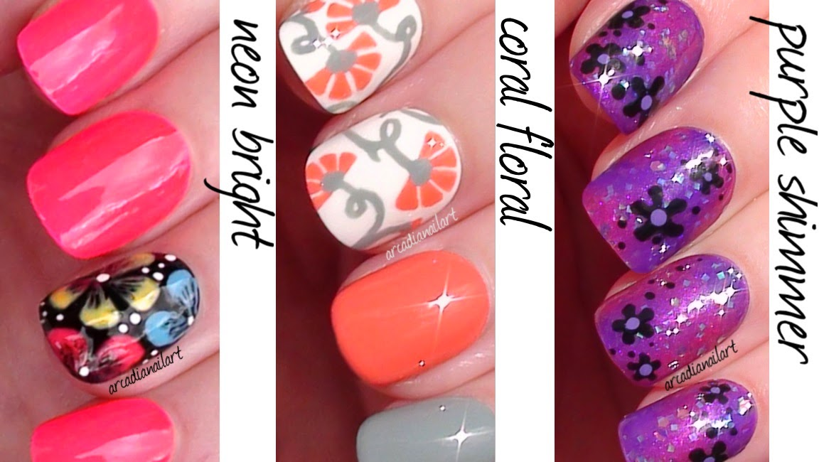 ArcadiaNailArt: Flowers 3 Ways! Easy Nail Art For Beginners