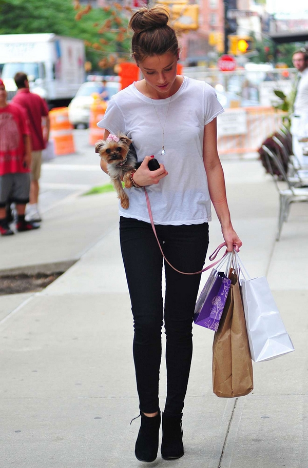 Amber Heard with dog shopping