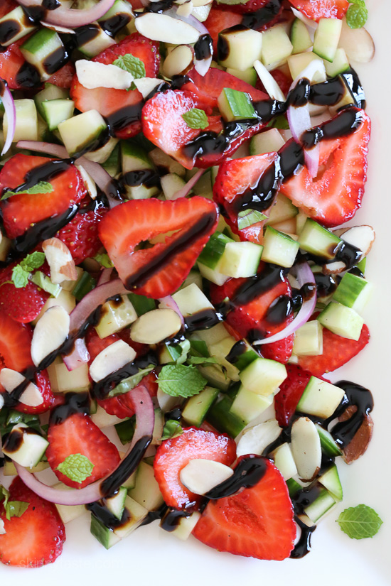 Strawberry Cucumber Salad – drizzled with balsamic glaze, an easy ...