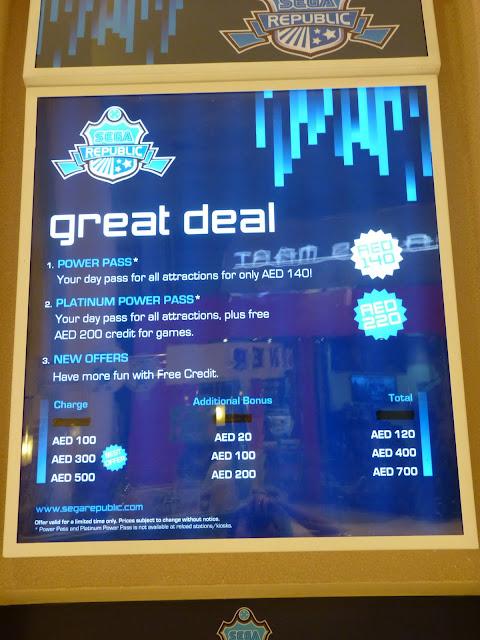 cuanto vale entrar a sega republic Dubai Mall