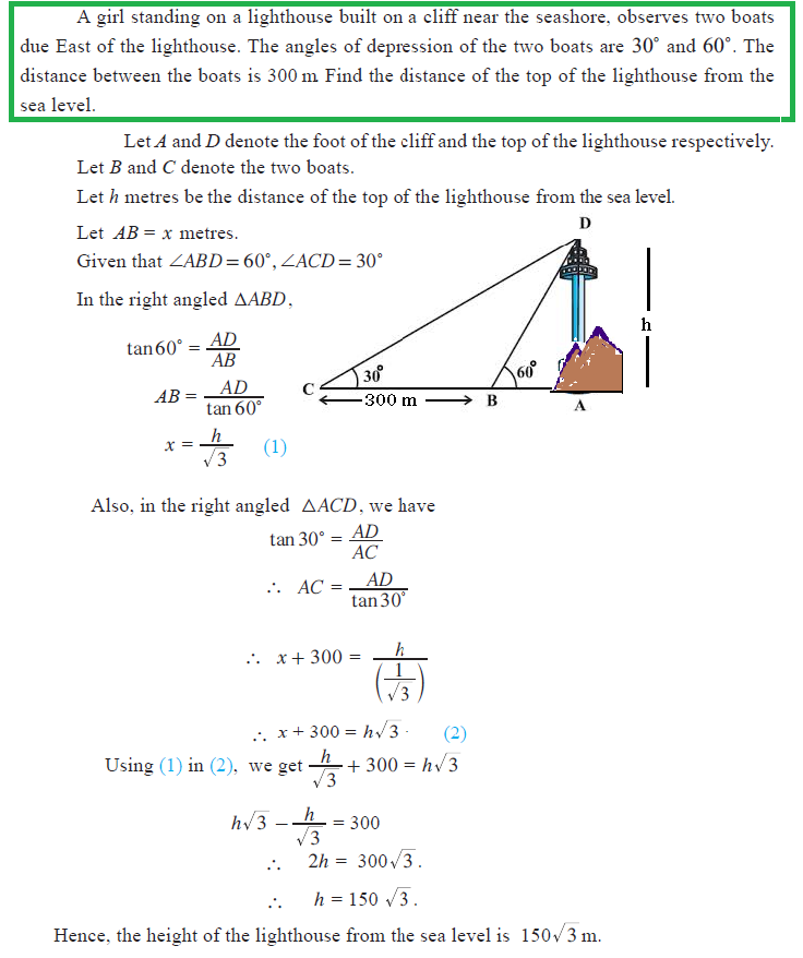 Worksheets Quiz Of Angle Of Depression Circle The Correct Answer omtex classes mar 1 2014 a girl standing on lighthouse build cliff near the seashore observes two boats due east of angles depression boats