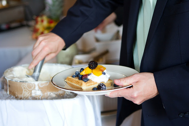 Wedding Brunch Reception - Belgian Waffle with Vanilla Ice Cream and Fresh Fruit - Photo Courtesy of Brian Samuels Photography