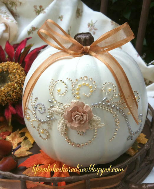 Pumpkin glitter and glitz decorate pumpkin with rhinestone appliques