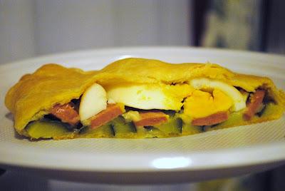 Torta rustica con uova zucchine e wurstel