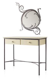 Consola y espejo de madera y forja