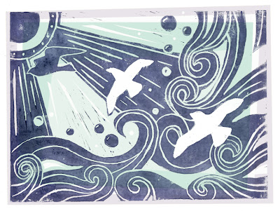 Lino print of 3 seagulls in blue