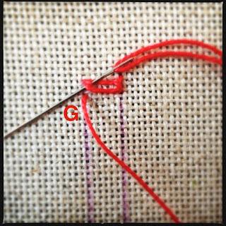 Broderisting tutorial. Vejledning med billeder. Ladder stitch - trin 7