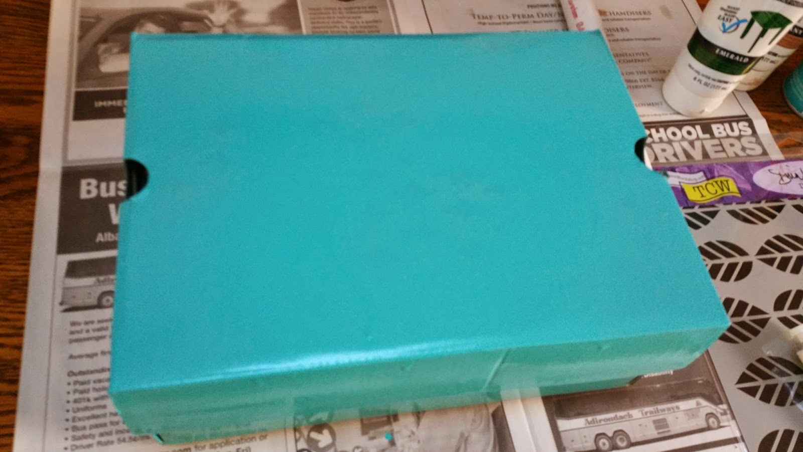 So I Spray Painted The Box In This Bright Turquoise Color.