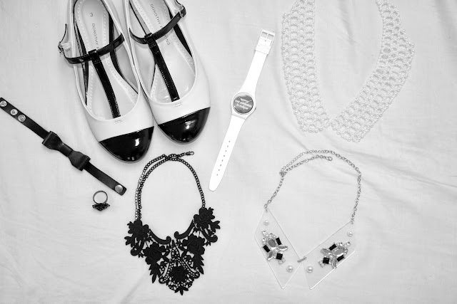 Black and white accessories Monochrome Week, monochrome, Trend Week, shoes, Dorothy Perkins, accessories, necklace, jewellery, Swatch, watch, New Look, Next, Forever 21, Accessorize, rings, bracelets,