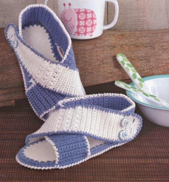 #543 Sandalias Infantiles a Crochet o Ganchillo