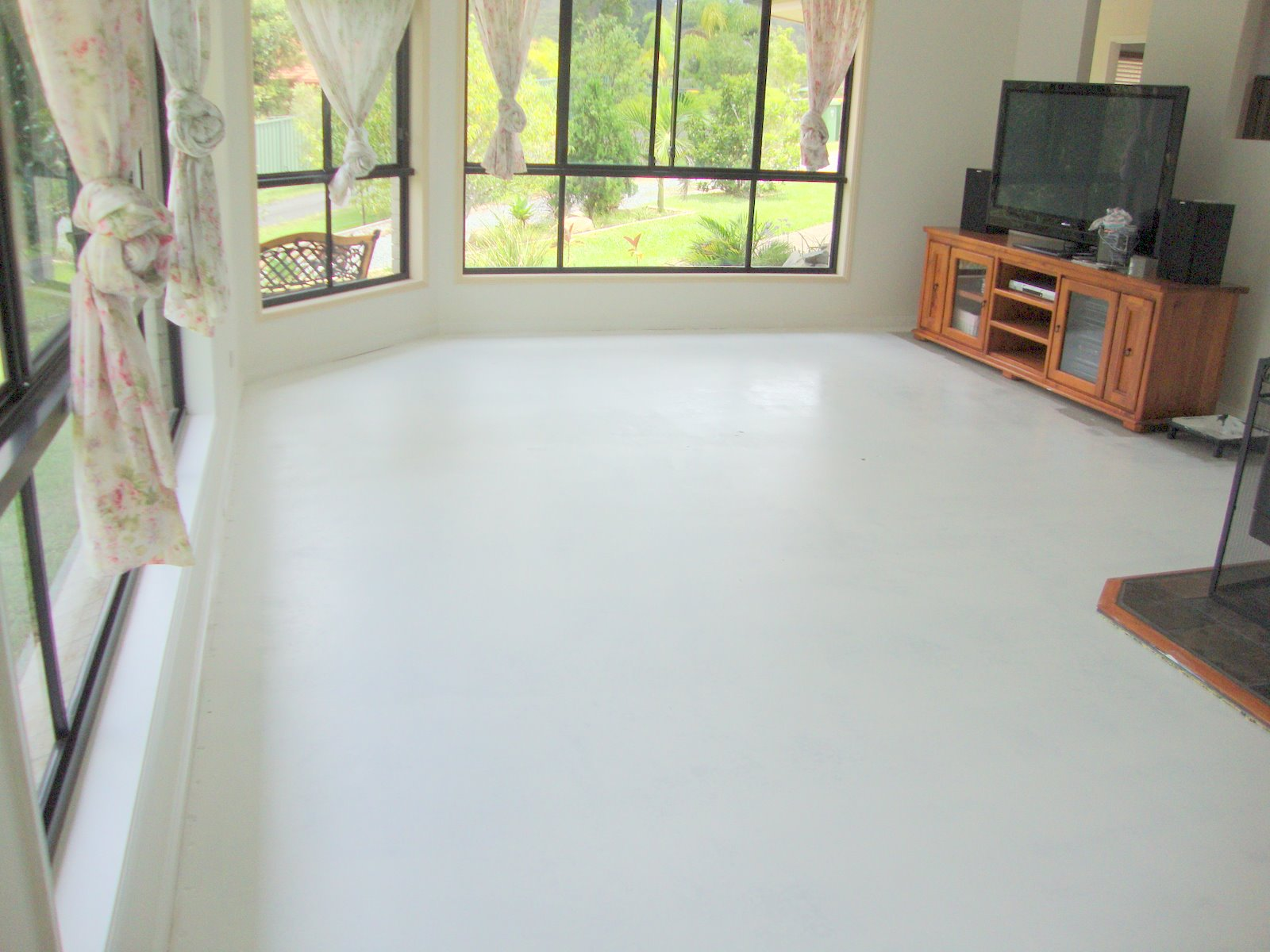 Painted concrete floors for Breezeway flooring ideas