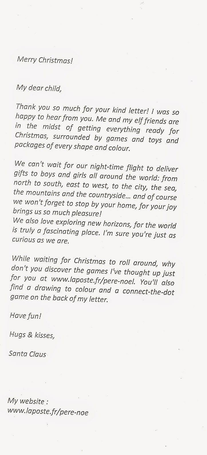 interesting corner of me christmas 2014 letter from santa claus