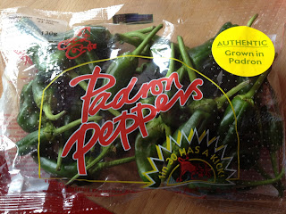 A bag of Padron pepers from Waitrose imported from Spain