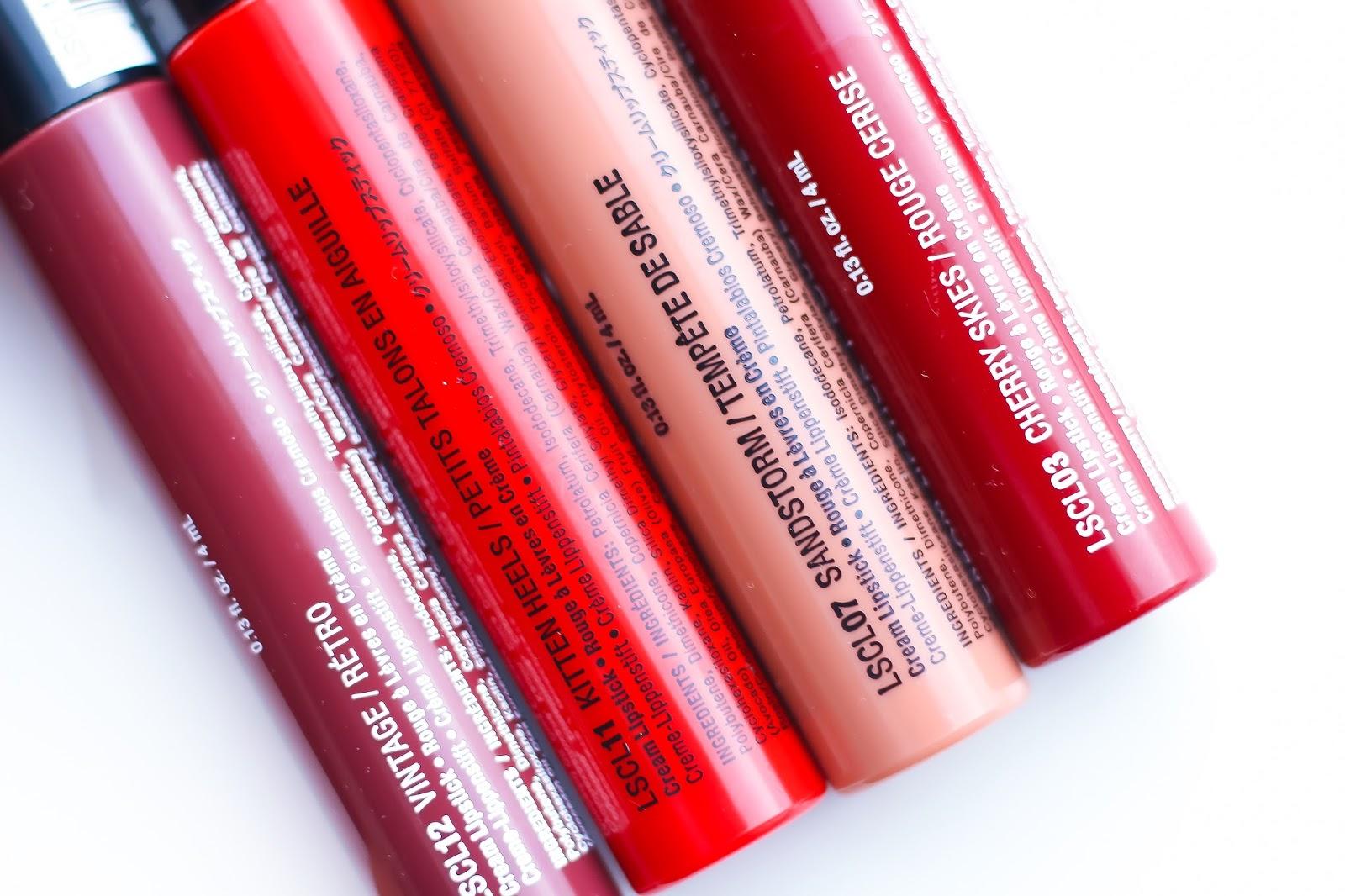 NYX Liquid Suede Cream Lipstick (Vintage, Kitten Heels, Sandstorm, Cherry Skies)