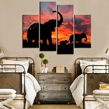 Reloj de pared lienzo con Elefantes al Atardecer