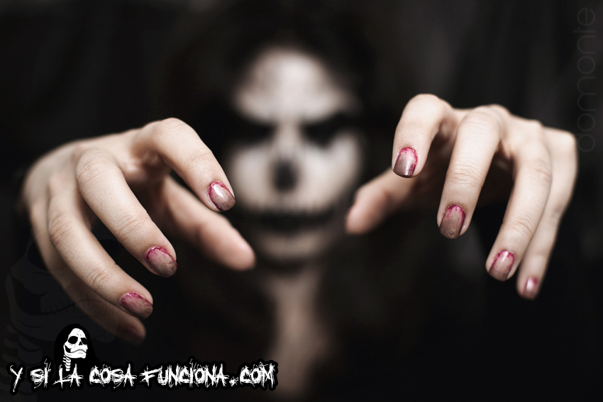 Pumpkin King Make Up Black White Girl Monster Nails