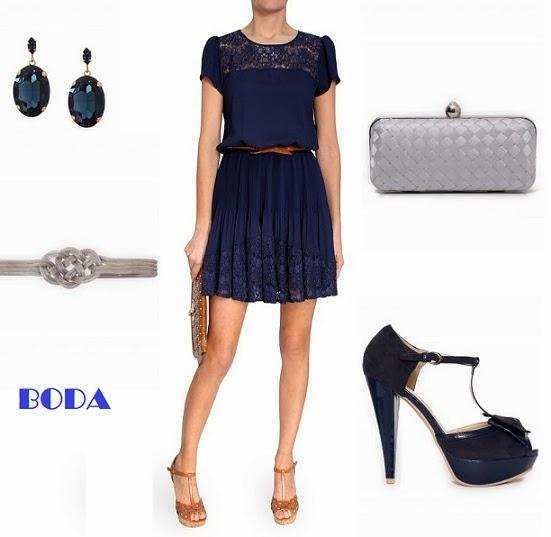 Vestido azul boda dia