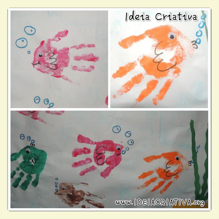 peixinho de carimbo de mãos