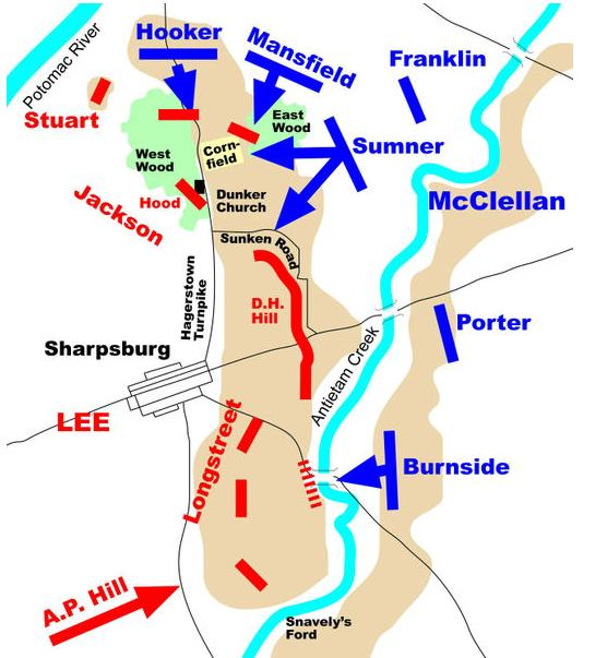 Antietam Battlefield map showing troop movements on the day of the battle.