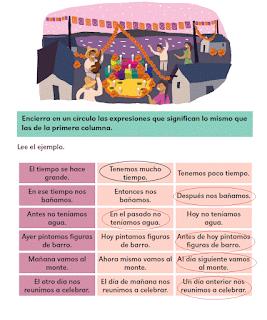 Respuestas Apoyo Primaria Español 2do grado Bloque 3 lección 16 Expresiones de tiempo, parecidas y contrarias