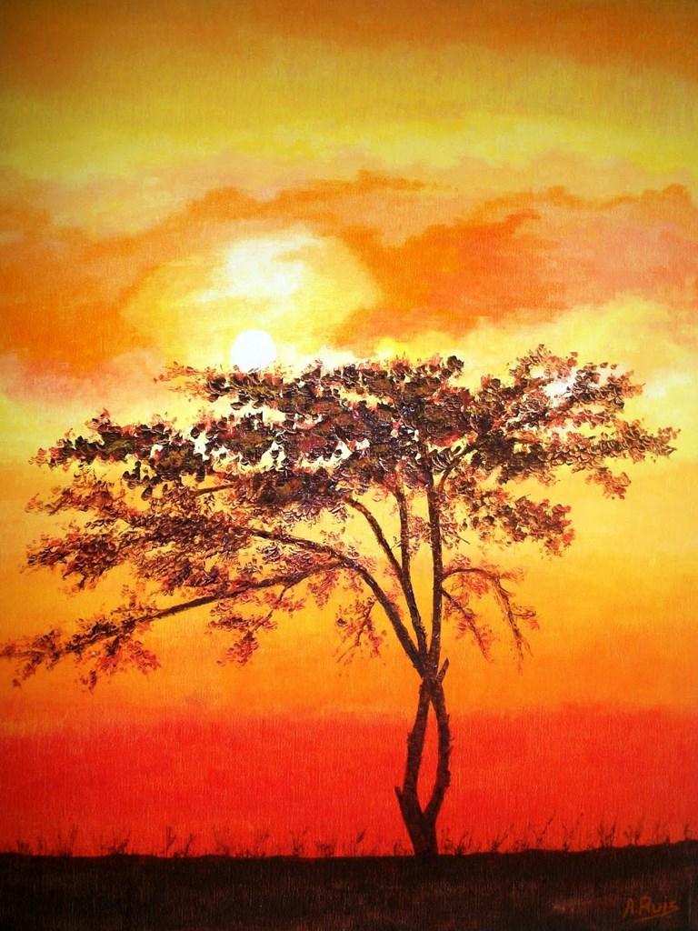 Pinturas cuadros lienzos pintura moderna africana de - Paisaje con colores calidos ...