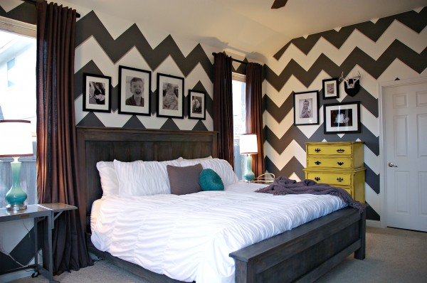 Yellow and Gray Chevron Bedroom Ideas