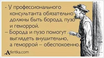 Начинающему бизнес-консультанту: заведите пузо, бороду и геморрой )))